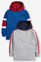 2 Pack Long Sleeve Tape Detail Hooded T-Shirts (3-16yrs)