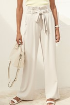 Twill Belted Wide Trousers