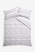 Mono Tassel Duvet Cover And Pillowcase Set
