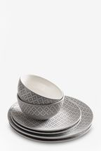 12 Piece Geo Embossed Dinner Set