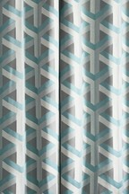 Optical Geo Teal Eyelet Curtains Fabric Sample