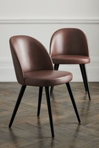 Set of 2 Zola Dining Chairs With Black Legs