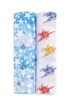 aden + anais Essentials Cotton Superman Muslin Swaddle Blankets Two Pack