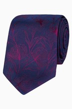 Jeff Banks Red Etching Design Floral Silk Tie