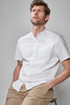 Cotton/Linen Grandad Collar Regular Fit Shirt