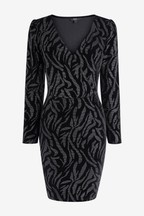 Zebra Velvet Wrap Dress