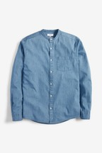 Denim Mid Wash Long Sleeve Grandad Collar Shirt