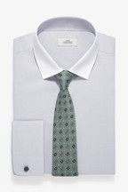 Regular Fit Double Cuff Easy Iron Textured Shirt With White Collar