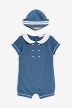 Woven Occasion Romper With Hat (0mths-2yrs)
