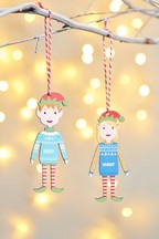 Personalised Adult Elf Hanging Decoration by Oakdene Designs