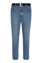 F&F Mid Wash Mom Belted Jeans