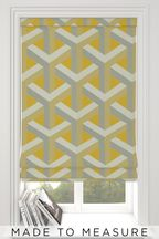 Optical Geo Ochre Yellow Made To Measure Roman Blind