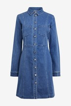 Button Through Fitted Denim Dress