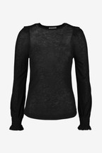 Whistles Black Wool Frill Essential Top