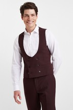 Moss London Slim Fit Burgundy Double Breasted Waistcoat