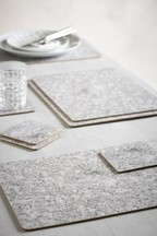 Set of 4 Granite Print Placemats And Coasters