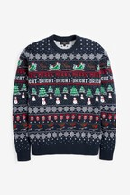 Mens Matching Family Pattern Wrapping Crew Neck Jumper