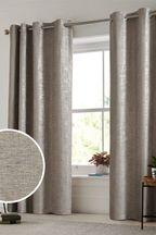 Metallic Woven Geo Eyelet Curtains