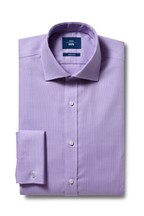 Moss 1851 Tailored Fit Lilac Double Cuff Non-Iron Shirt
