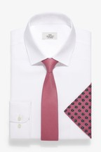 Regular Fit Easy Iron Shirt With Pink Tie And Pattern Pocket Square