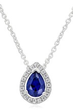 Beaverbrooks Sterling Silver Blue Cubic Zirconia Blue Pear Halo Pendant
