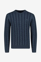 GANT Blue Winter Faded Cable Crew