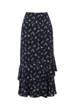 Oasis Blue Ditsy Tiered Midi Skirt