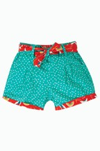 Frugi Red Gots Organic Reversible Shorts In Crane Print And Spot