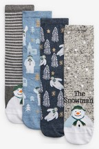 The Snowman Ankle Socks Four Pack