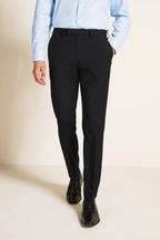 Moss 1851 Tailored Fit Machine Washable Navy Plain Trousers