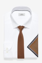 Slim Fit Easy Iron Shirt With Brown Tie And Pattern Pocket Square