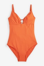 Non Pad Underwired Shape Enhancing Ring Detail Swimsuit