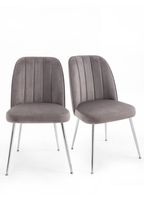 Set Of 2 Stella Dining Chairs With Chrome Legs