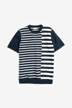 Stripe Cotton Short Sleeved Crew Neck T-Shirt