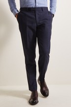 Moss 1851 Tailored Fit Navy Gold Check Trousers