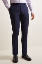 Moss 1851 Tailored Fit Navy Prince Of Wales Check Trousers