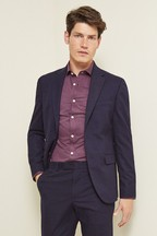 Moss London Slim Fit Navy Check Jacket