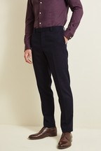 Moss London Slim Fit Navy Check Trousers