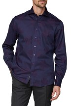 Jeff Banks Purple Large Floral Tonal Shirt Cutaway Collar