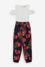 Baker by Ted Baker Girls Navy Floral Cold Shoulder Jumpsuit