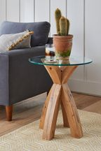 Oak and Glass Side Table