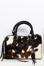 Leather Cow Hide Bowler Bag