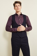 Moss London Slim Fit Navy Check Waistcoat