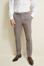 Moss London Slim Fit Neutral Unstructured Trousers