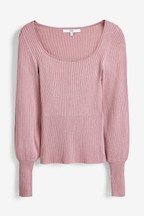 Volume Sleeve Square Neck Jumper