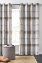 Brushed Texture Check Eyelet Curtains