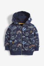 Aeroplane All Over Print Zip Through Hoody (3mths-7yrs)