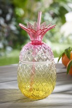 Plastic Pineapple Cup With Straw