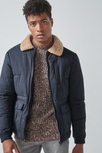 Borg Collar Quilted Jacket