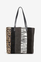 Leather Spliced Shopper
